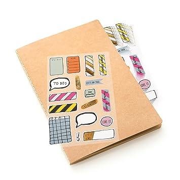 En blanco Cuaderno, DIN A5, papel de estraza con pegatina ...