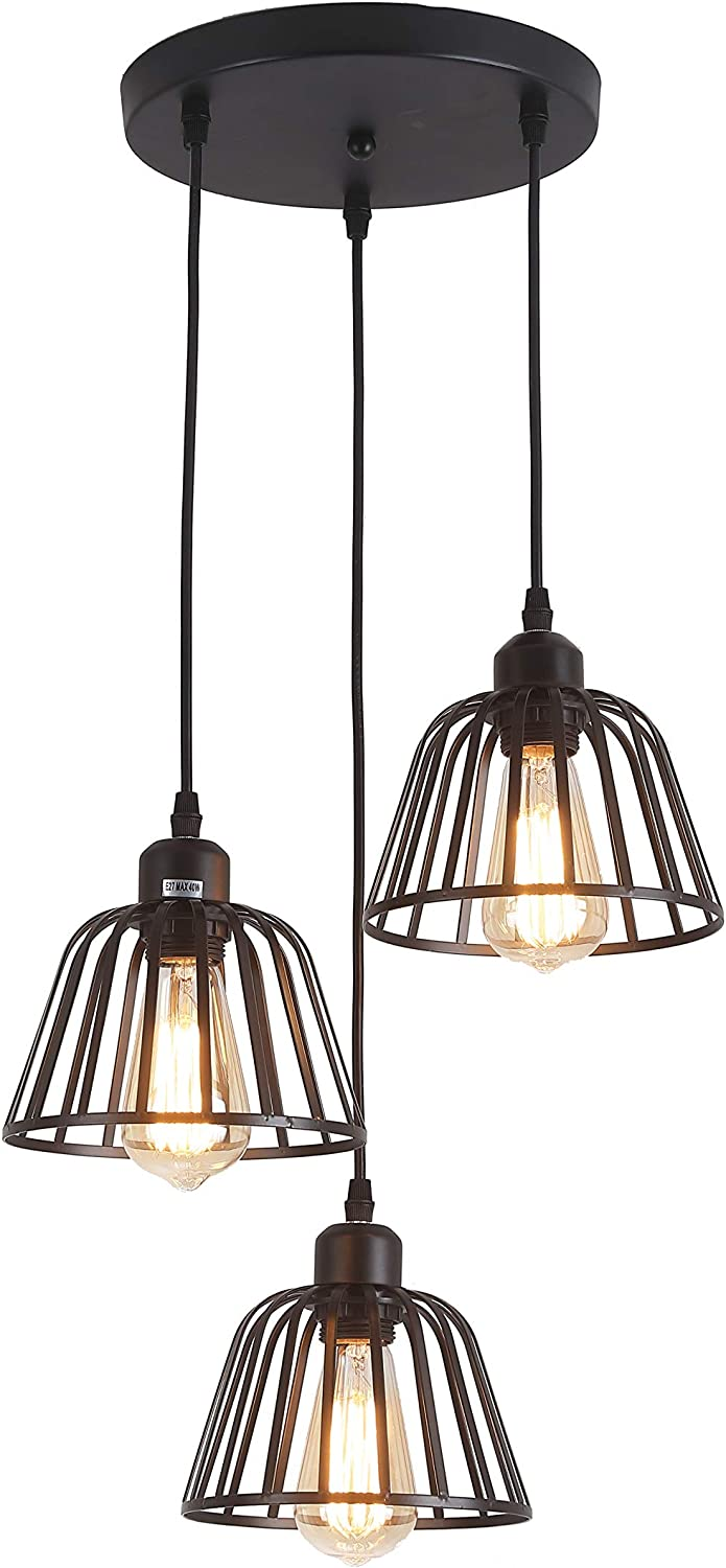 Rustic Industrial Pendant Light, 3 Lights Industrial Ceiling Hanging Light Fixture Chandelier E26 for Kitchen Island Bedroom Living Dining Room, Black - -