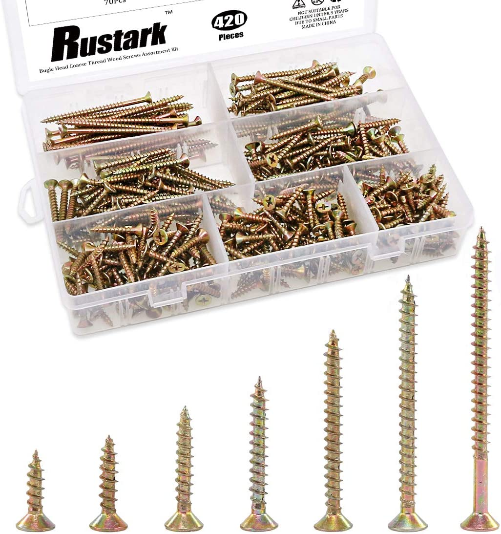 Rustark 420Pcs [#7 5/8'' to 2-1/2''] Zinc Plated Coarse Thread Phillips Drywall Screws with Bugle Head Assortment Kit for Drywall Sheetrock and Wood