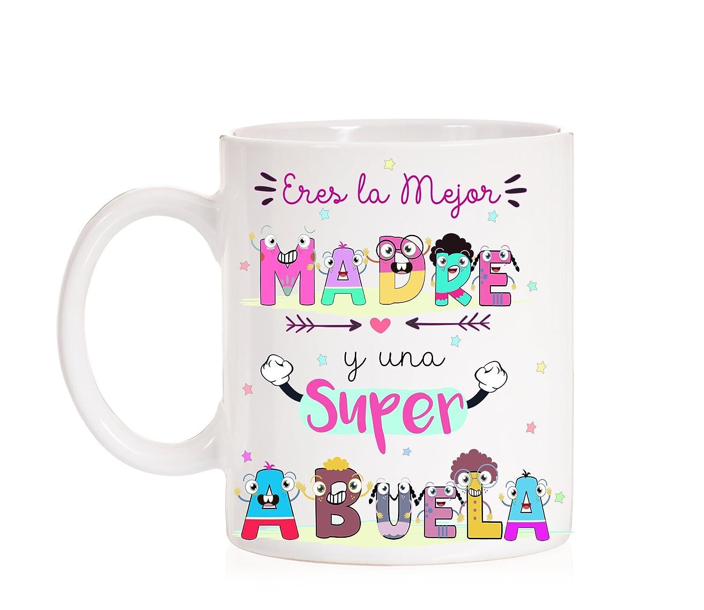 Taza Divertida Muy Chula con Caja Decorativa de Regalo FUNNY CUP Taza Eres la Mejor Madre y una Super Abuela Taza Regalo para Madres o Abuelas Ideal para Regalo en su d/ía