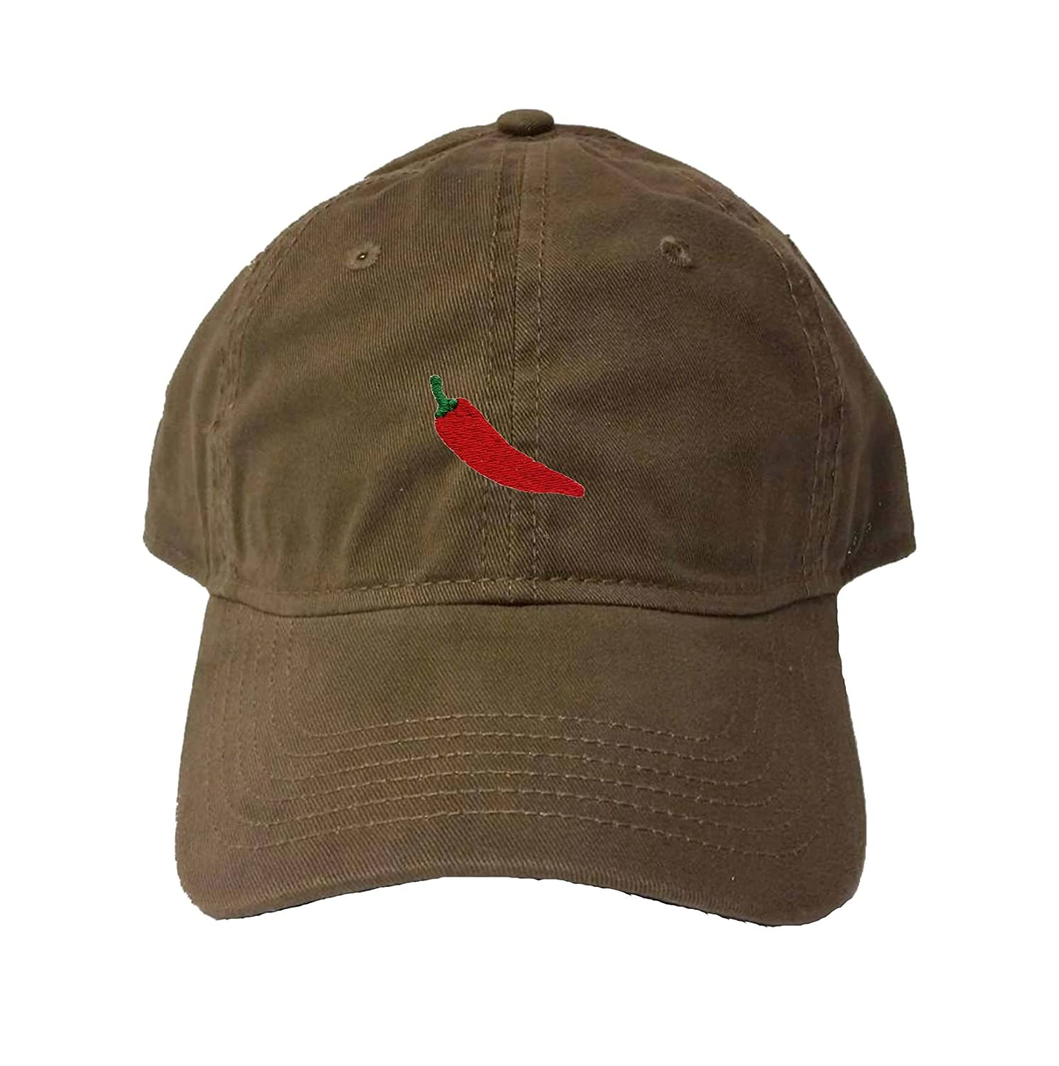 db6d888feea Amazon.com  Adjustable Black Adult Hot Pepper Embroidered Deluxe Dad Hat   Clothing