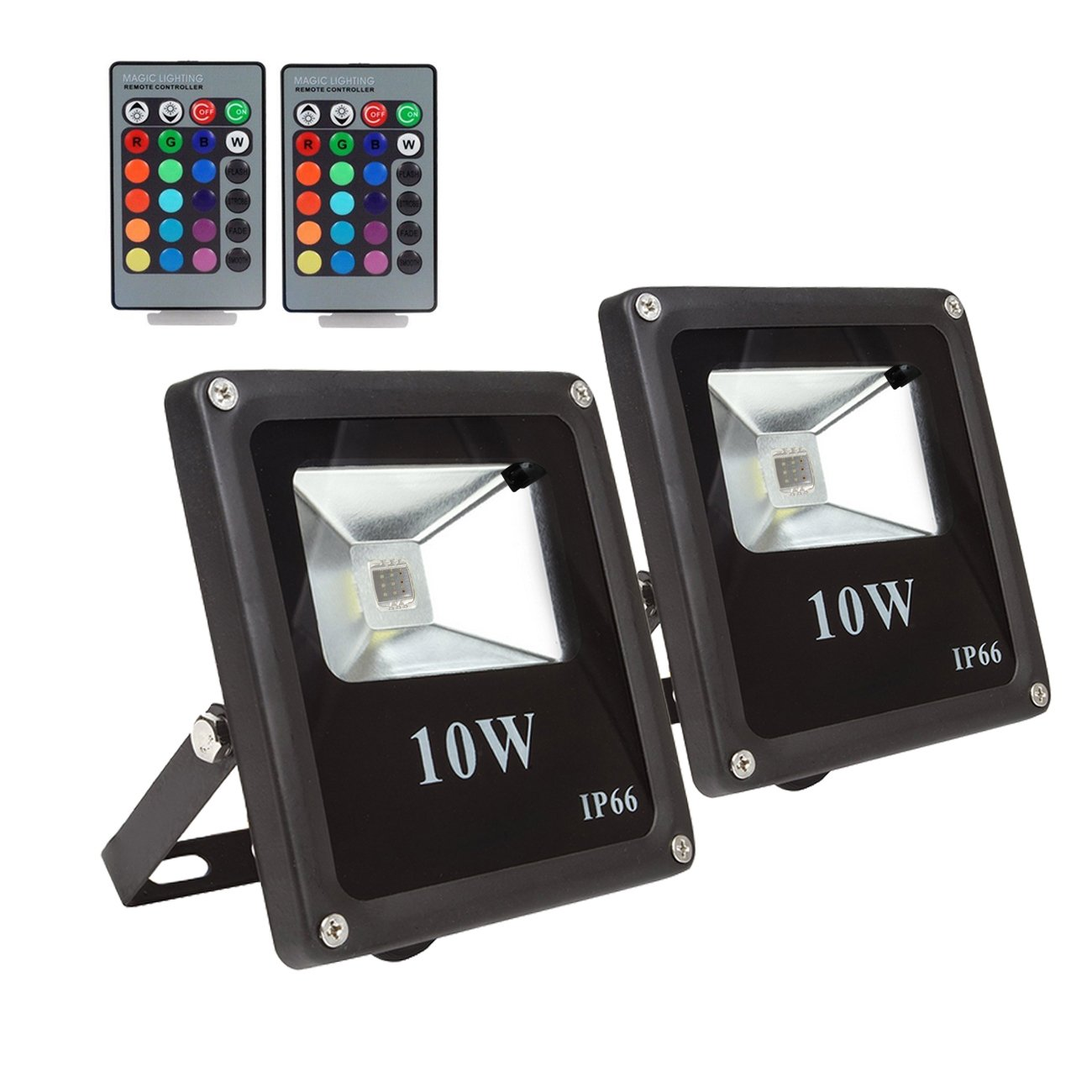(2 Pack) RGB LED Flood Lights, Outdoor Color Changing Floodlight With Remote Control, IP66 Waterproof 16 Colors 4 Modes Dimmable Wall Washer Light, Stage Lighting with US 3-Plug ,AC85-265V,10W Galaxy