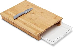 Bamboo Cutting Board with Storage - FREE Knife - Veggie/Cheese Tray - Kitchen Essential - Thick and Lightweight - Ultimate Chopping Board - Extra Container - Easy Workstation - Beautiful Quality
