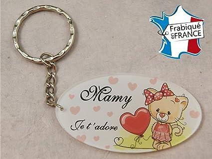 "Llavero – con texto en francés: ""Mamy je tadore"" (regalo ..."