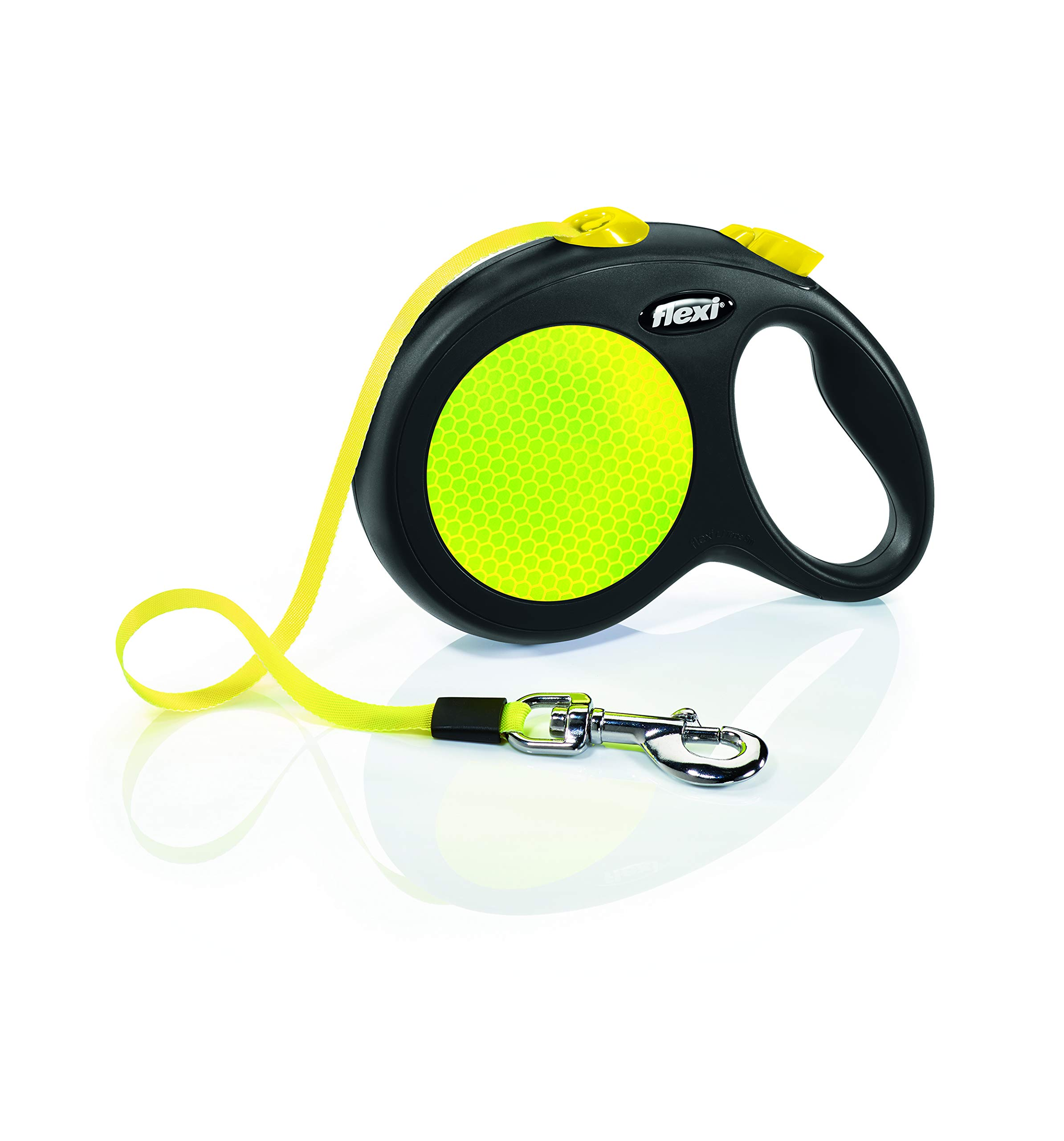 Flexi New Neon Retractable 16' Dog Leash Tape, Large, Black/Neon by Flexi