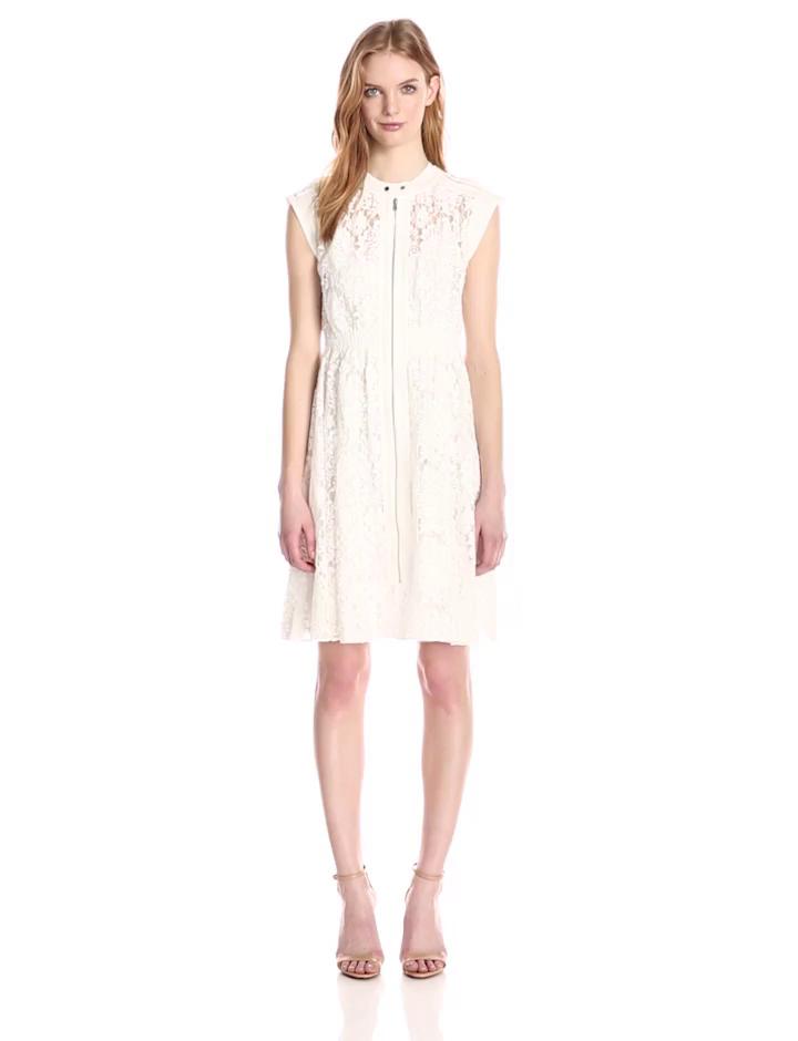 Rebecca Taylor Women's Floral Lace Sleeveless Dress, Cream, 2