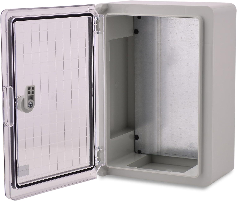 Caja de plástico ABS BOXEXPERT Caja de control de la flota IP65 gris/transparente (ABS, 350x250x150mm con puerta transparente)