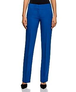 oodji Ultra Mujer Pantalones Clásicos con Pinzas, Azul, ES 36 / XS