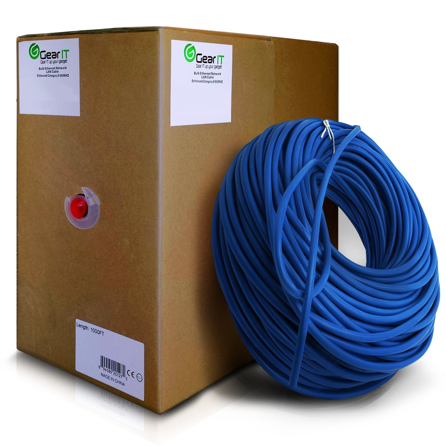 GearIt Cat5e Ethernet Cable Bulk 1000 Feet - Cat 5e 350Mhz 24AWG Full Copper Wire UTP Pull Box - In-Wall Rated (CM) SOLID Cat5e, Blue by GearIT