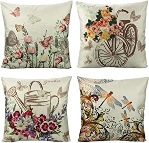 VAKADO Outdoor Butterfly Flowers Throw Pillow Covers Patio Garden Summer Spring Floral Dragonfly Pot Bike Insects Furniture Decorative Cushion Cases Home Decor for Porch Couch Sofa 18x18 Set of 4