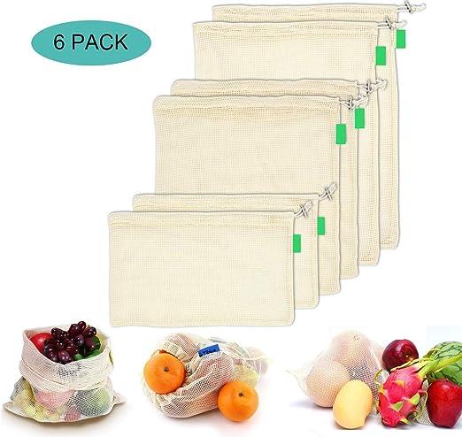 AYUTOY 6 Piezas Bolsas de Vegetales Reutilizables de algodón Bolsa ...