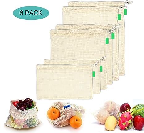 AYUTOY 6 Piezas Bolsas de Vegetales Reutilizables de algodón Bolsa de Malla Lavable Bolsas de Malla Transpirables Adecuado para Frutas y Verduras (2X ...