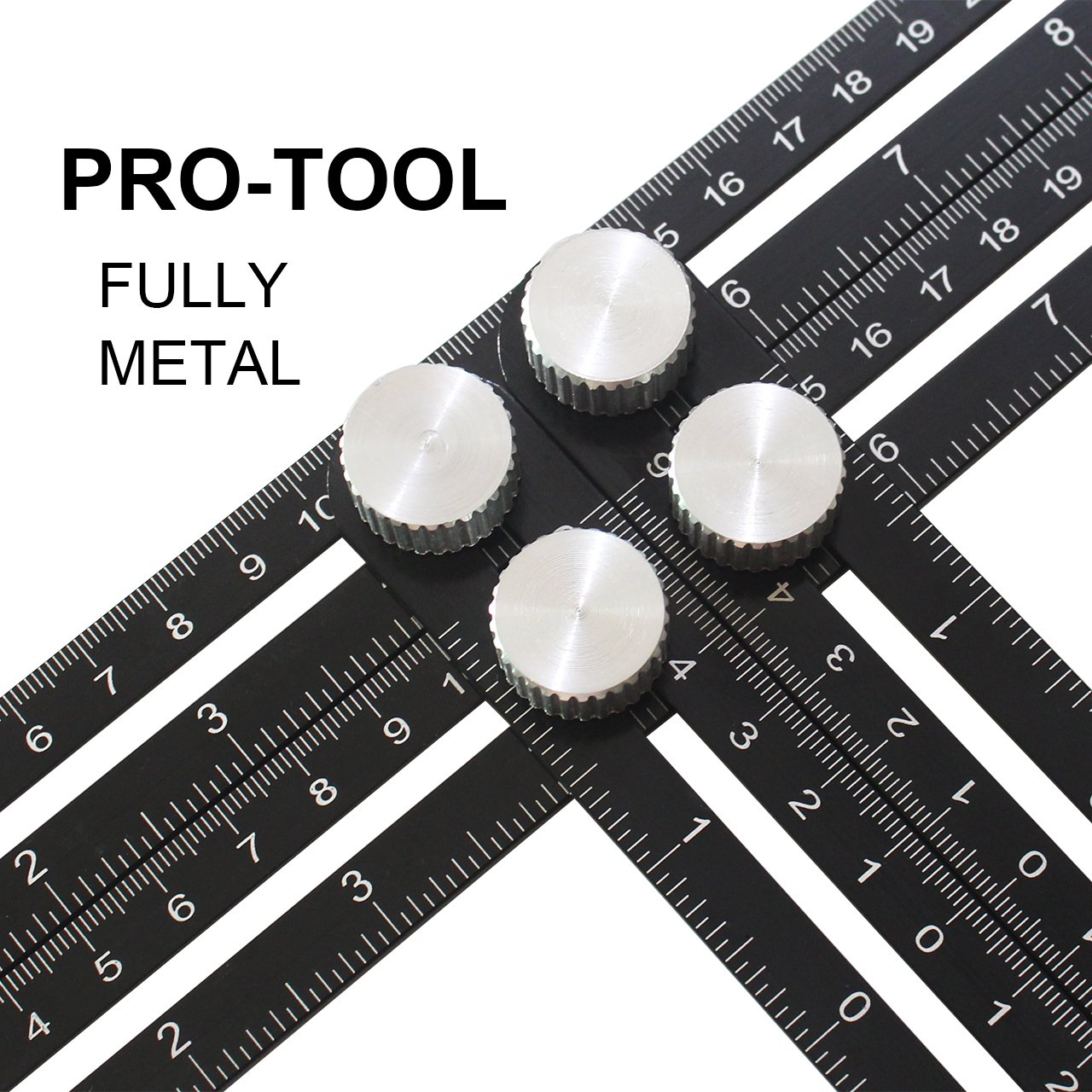 Benvo Upgraded Multi Angle Measuring Ruler Full Metal Template Tool Ultra Nook Scale Ruler with Level Embedded Metal Bolts Made of Premium Aluminum Alloy for Any DIY Projects