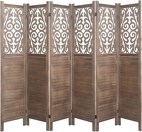 Rose Home Fashion RHF 5.6 ft. Tall- Cutout Room Divider,Double Hinged, Folding Room Dividers,Panel Screen, Room Dividers and Folding Privacy Screens, Free Standing, 6 Panel,Brown