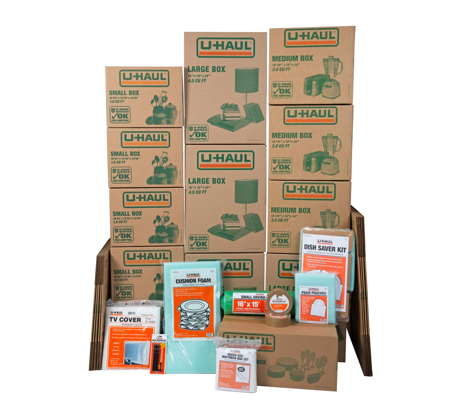 U-Haul Apartment Moving Kit - 21 Boxes, Tape, Mattress Bag, TV Cover, Assorted Packing Supplies