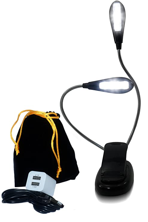 2 Dual Flexible Arms 4//8 LED Clip-on Lamp for Piano Stand Book Reading Light