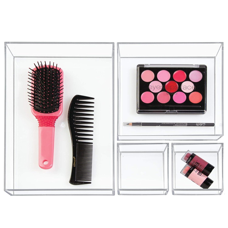 caja apilable para ba/ño iDesign Organizador de maquillaje y cosm/éticos organizador de cajones extrapeque/ño de pl/ástico libre de BPA transparente cocina y oficina