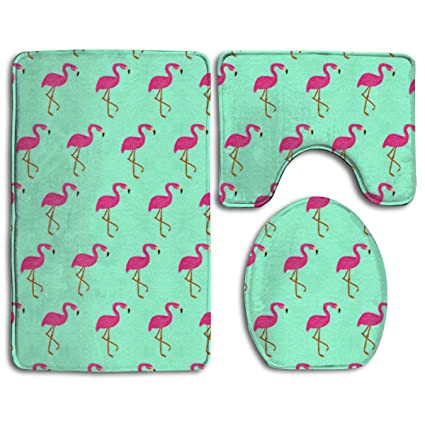 Amazon Com Pink Flamingo Wallpaper 3 Pack Bath Mat Set Non