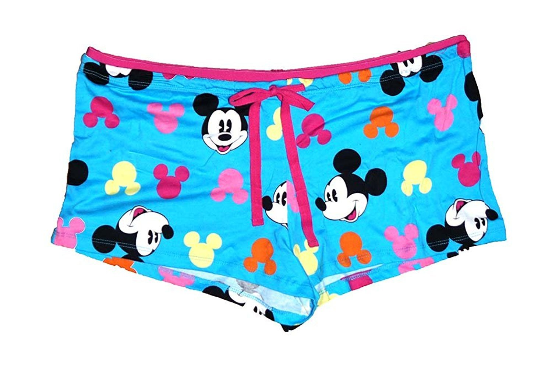 Disney Classic Mickey Mouse Women Pajama Boxer Shorts -Mickey Head Print - Blue