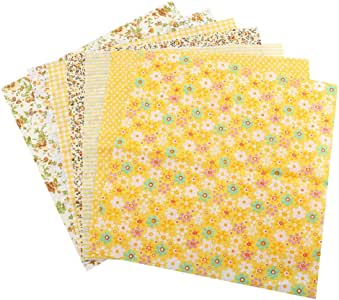 Wifehelper Tela de Algodón DIY Cuadrados Surtidos Ropa de Cama Suite Cuartos Paquete Costura Acolchado Artesanía 3 Tipos 7pcs 50 * 50cm(Amarillo): Amazon.es: Hogar