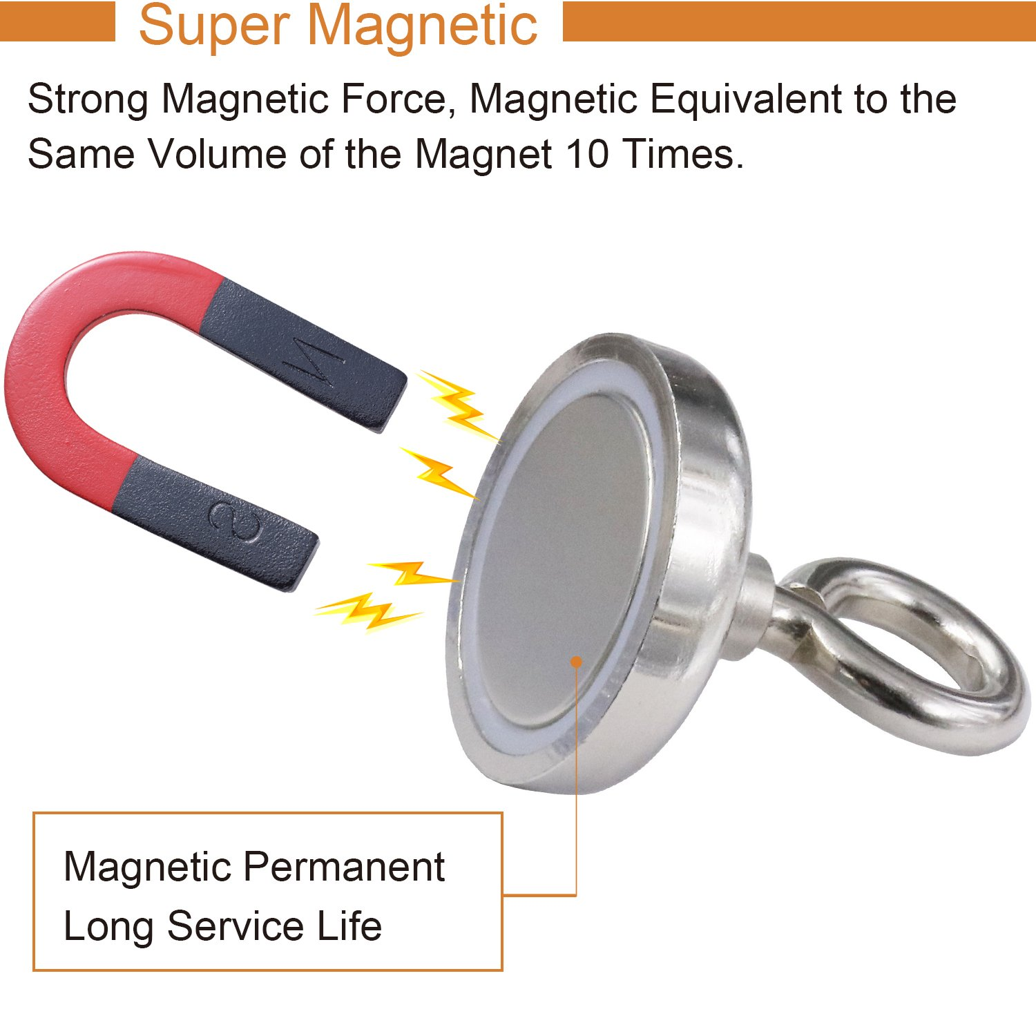 Super Strong Neodymium Fishing Magnets 175 Lbs80 Kg Pulling Force Here Comes The Strongest Magnetic Field To Be Ever Created Rare Earth Magnet With Eyebolt Diameter 189 Inch48 Mm For Retrieving In River And