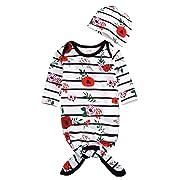 Mini honey Newborn Baby Sleepy Floral Striped Gown Headband Sleepwear Romper Sleeping Bags