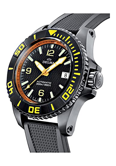 DELMA - Blue Shark II black edition - Reloj de Buceo - 47 mm de diámetro: Amazon.es: Relojes