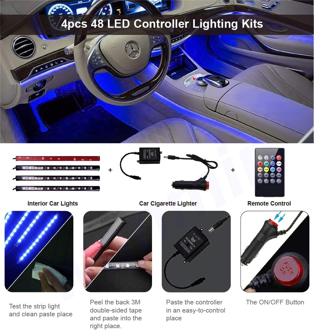Led Interior Car Lights Car Charger Included Waterproof Multicolor Music Underglow Lighting Kits with Wireless Control and Sound Active Function DC 12V Controller Led Lights for Cars