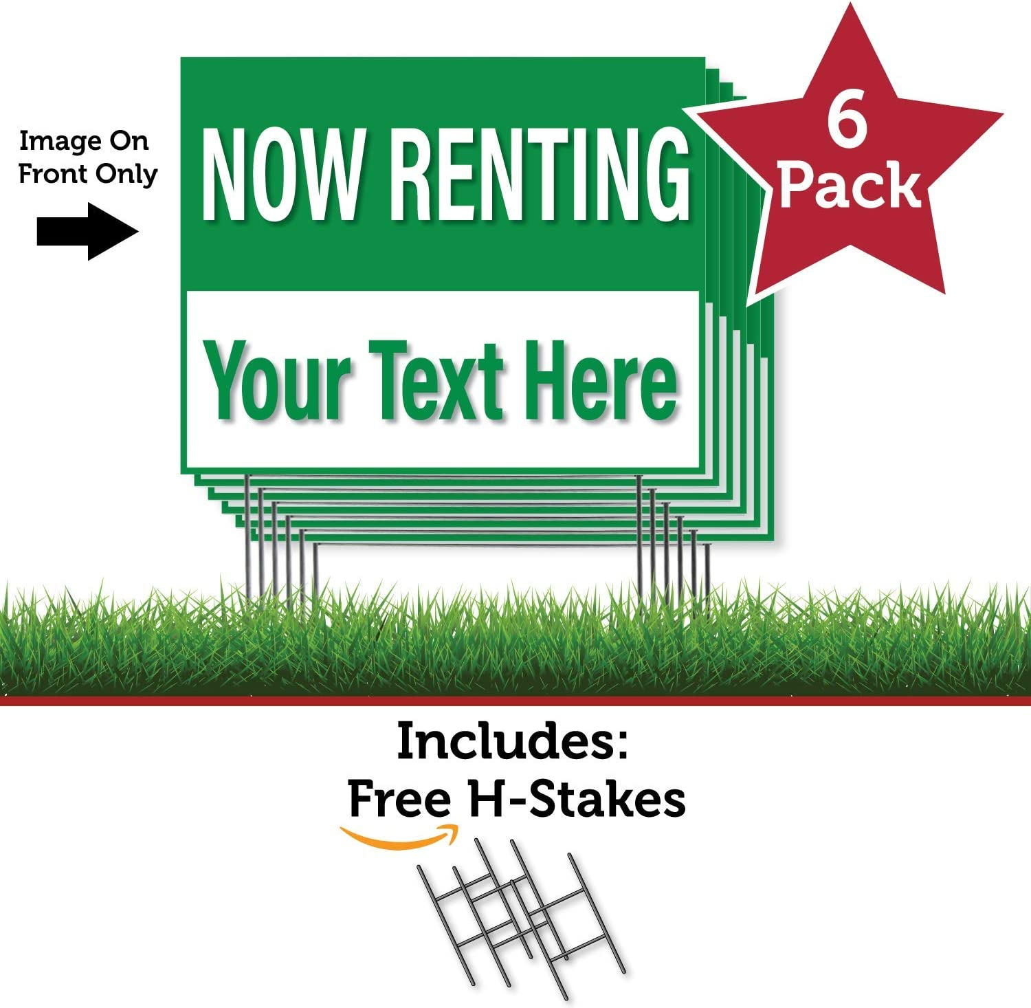 HALF PRICE BANNERS Made in The USA 18x24 Green FOR LEASE 6 Pack Single Sided Coroplast Yard Signs Custom