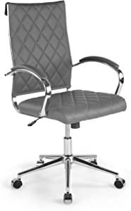 Poly and Bark Draper High Back Vegan Leather Office Desk Chair with Chrome Metal Legs (Grey)