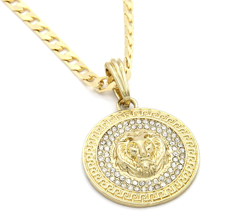 Mens Gold Tone Pattern Lion Round Pendant 5mm 24 Cuban Chain Necklace Amazon Com