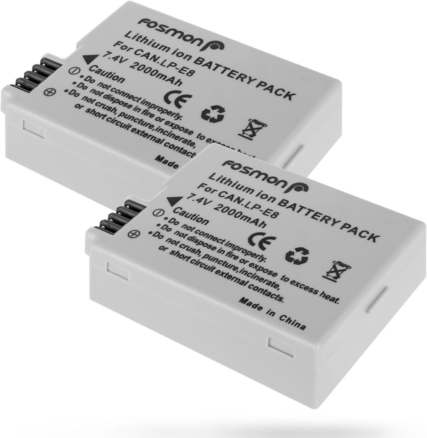 Fosmon 2X Batería Canon LP-E8 2000mAh Reemplazon Batería Rercargable para Canon Cámara LP E8 Rebel T3i T2i T4i T5i EOS 600D 550D 650D 700D Kiss X5 X4 Kiss X6 LC-E8E: Amazon.es: Electrónica