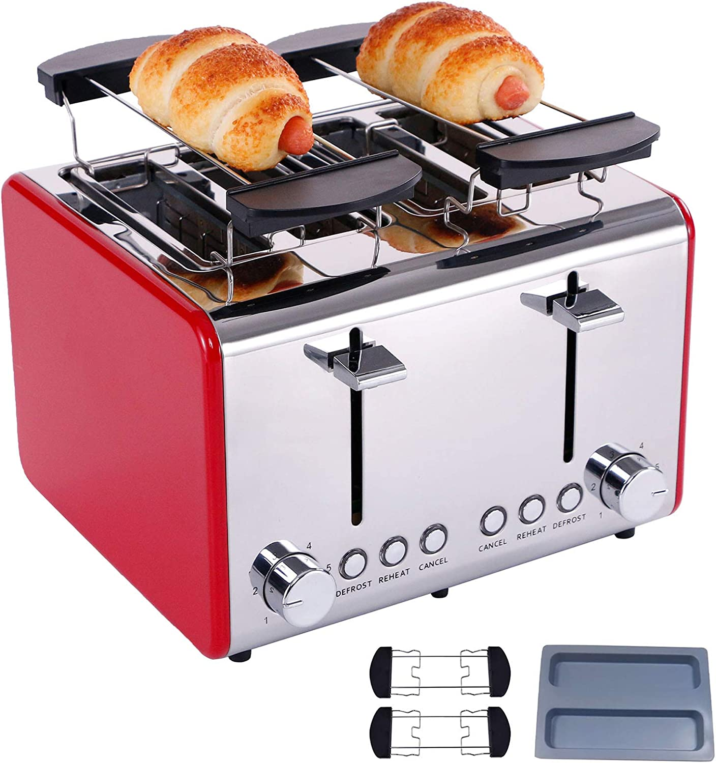 Toaster 4 slice,Extra-Wide Slot Toaster,6 Bread Shade Settings,Stainless Steel Toaster with Bagel,Reheat,Cancel, Defrost Function,Removable Crumb Tray (toaster 4 slice red)