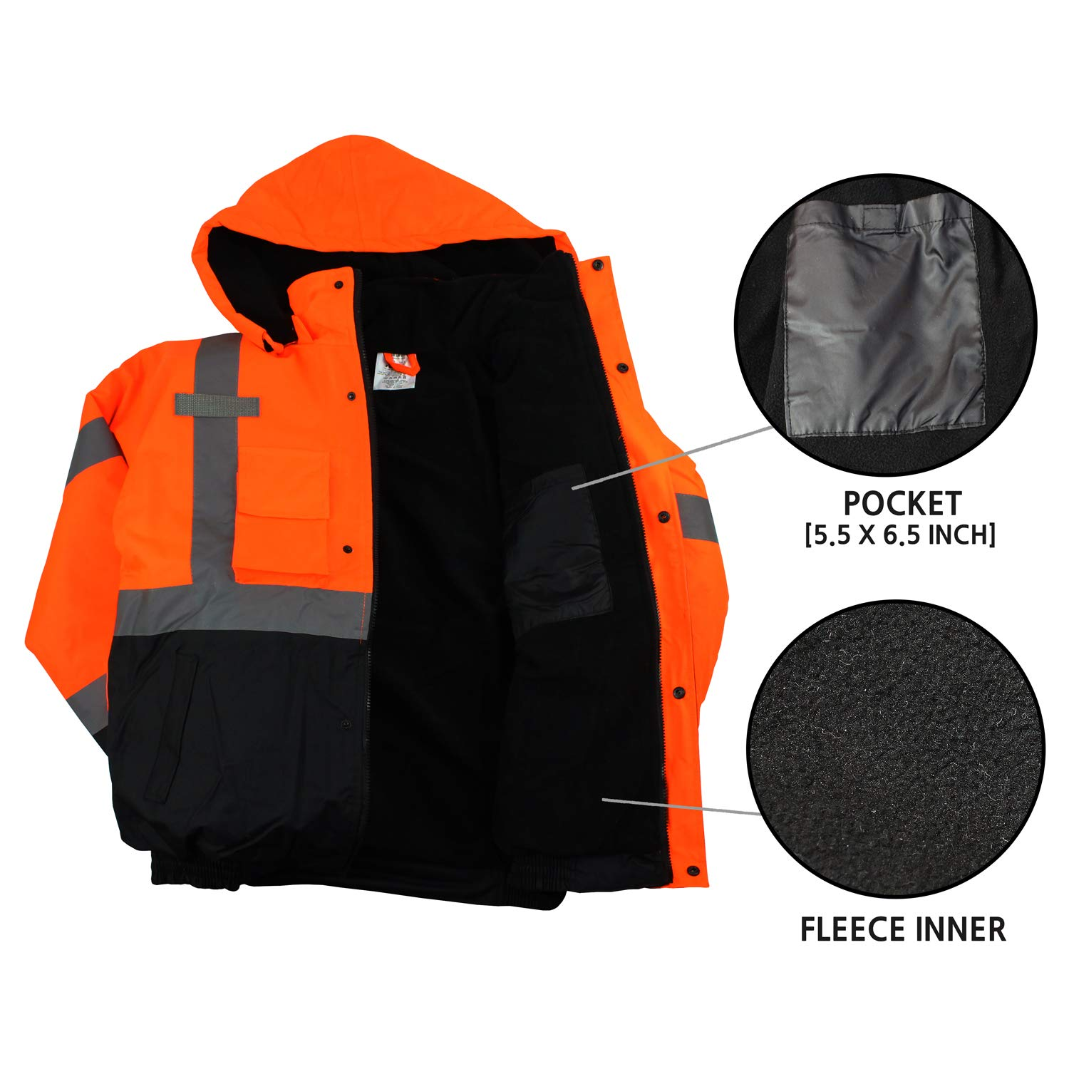 New York Hi-Viz Workwear WJ9011-L Men's ANSI Class 3 High Visibility Bomber Safety Jacket, Waterproof (Large, Orange) by New York Hi-Viz Workwear (Image #5)