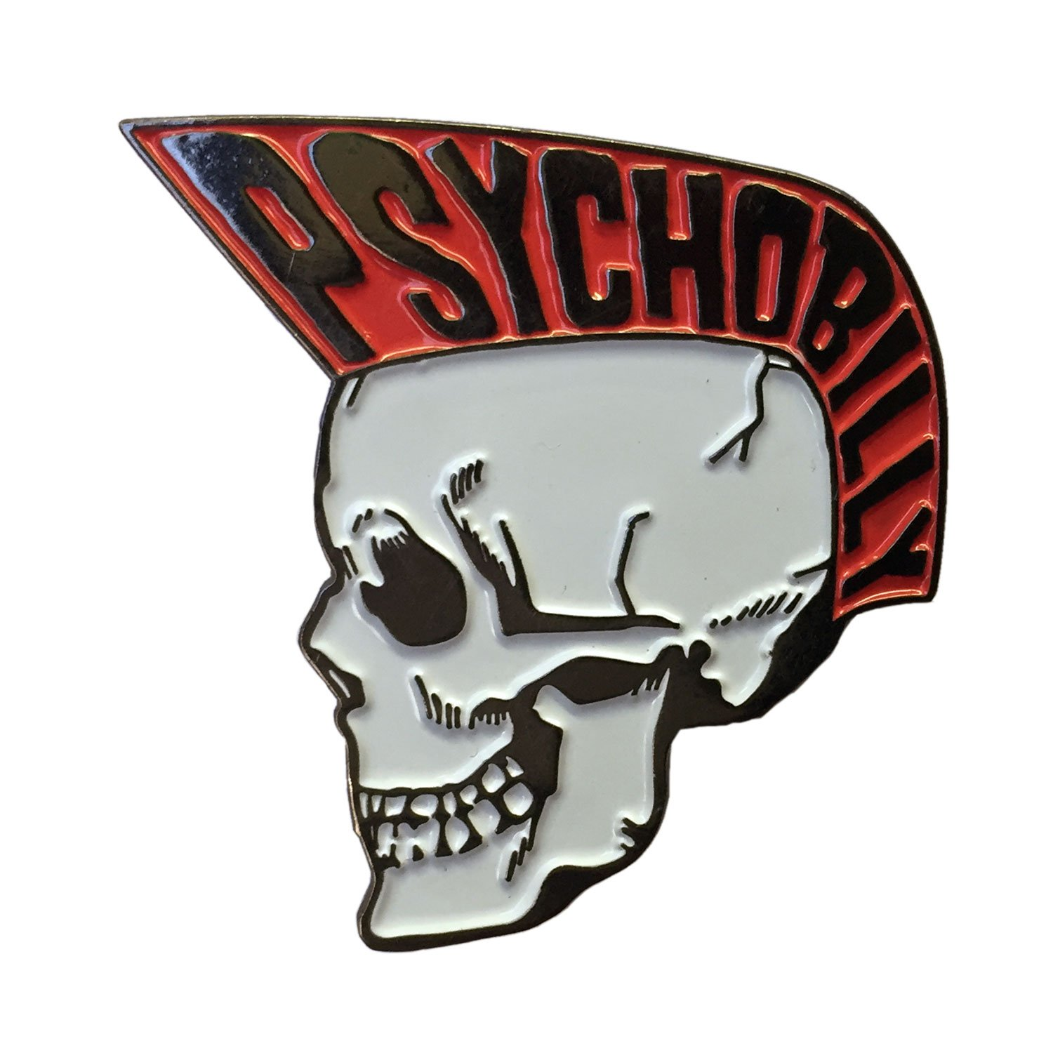 Psychobilly Skull Boy Red Enamel Pin by Kreepsville kreepsville 666 BEPSBR