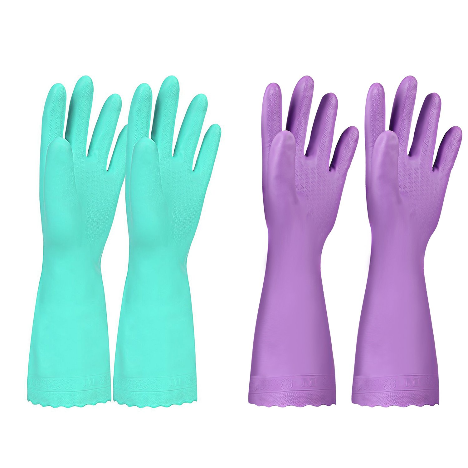 Elgood Household Gloves,Latex Free Vinyl Cotton Lining Non- Slip Swirl Grip Gloves for Kithen Dishwashing Laundry Cleaning 2 Pairs (Purple+Blue, M)