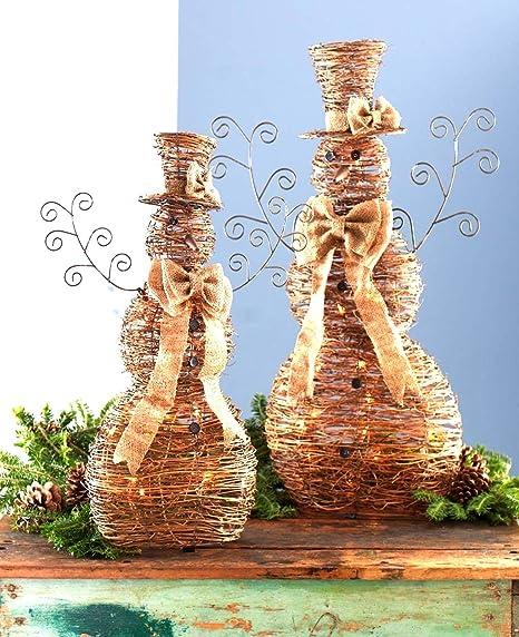 Amazon Com Set Of 2 Brown Natural Jute Rattan Lighted Snowmen Christmas Decorations 36 Home Kitchen