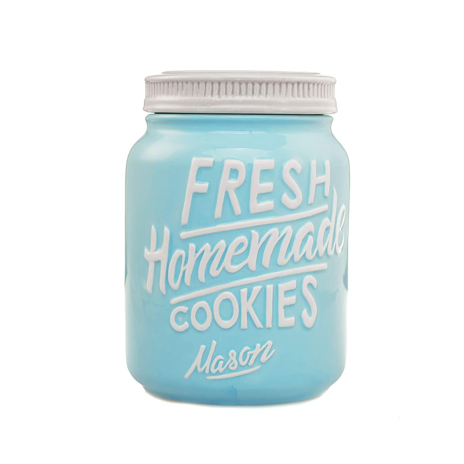 Blue Ceramic Mason Jar Cookie Jar - Keep Your Cookies & Baked Goods Fresh with an Airtight Lid | Handy Container | Vintage Farmhouse Decor & Collector Gift | Rustic Kitchen Accessory by Goodscious