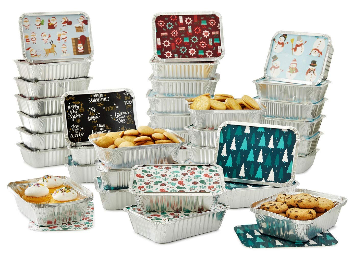 "Set of 36 Christmas Treat Foil Containers - 6 Holiday Designs, Snowman & Santa Festive Cover Print - 7""L x 5""W x 1.5""D - Disposable Food Storage Pan for Party Leftovers or Cookie Exchange"