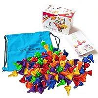 Titan Teacher Stacking Peg Building Interlocking Block Toy Set (96 Piece Set) Montessori Toys for Kids Sensory Developmental Skills - Kid-Safe Pegs for Motor Skill, Ages 3-11