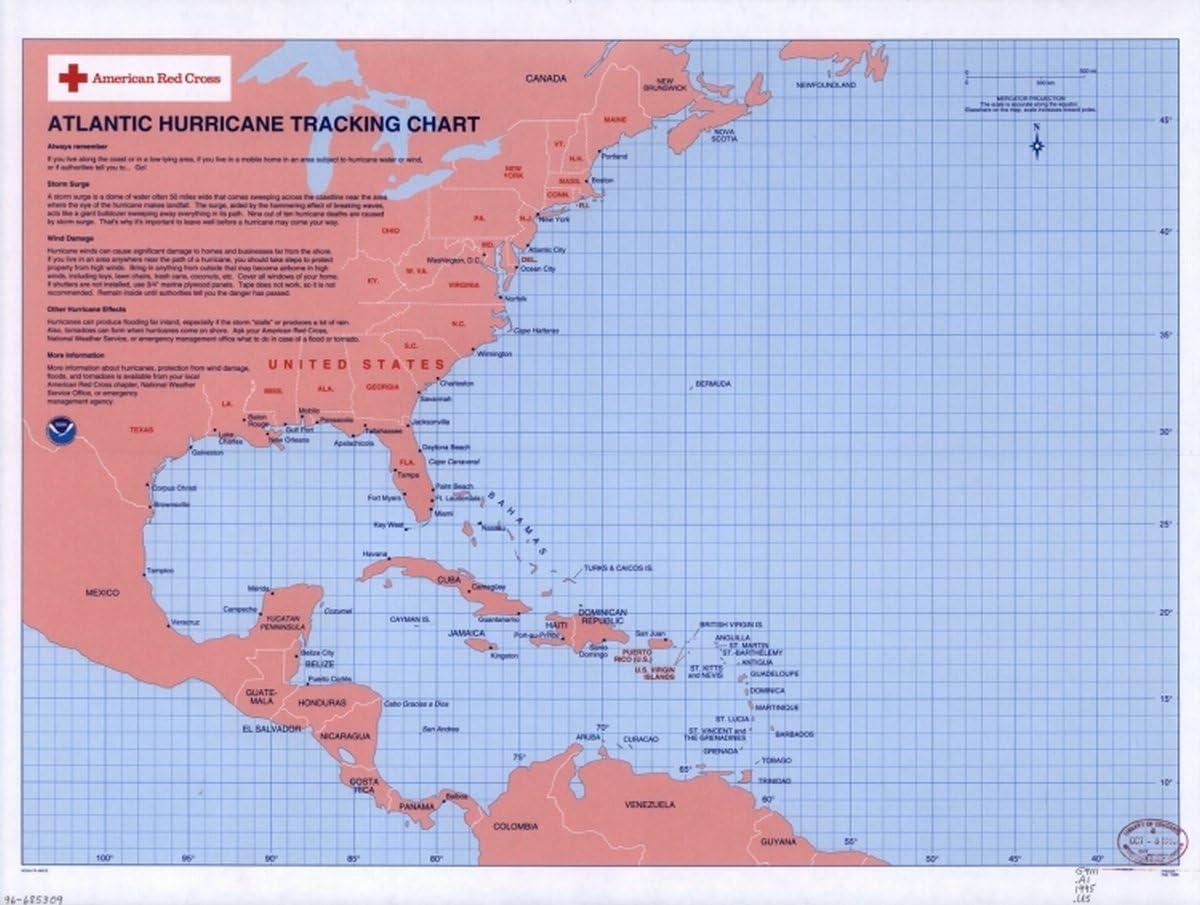 INFINITE PHOTOGRAPHS Map: 1995 Atlantic Hurricane Tracking Chart P4003A Feb. 1995 Hurricanes North Atlantic Ocean Plotting Charts