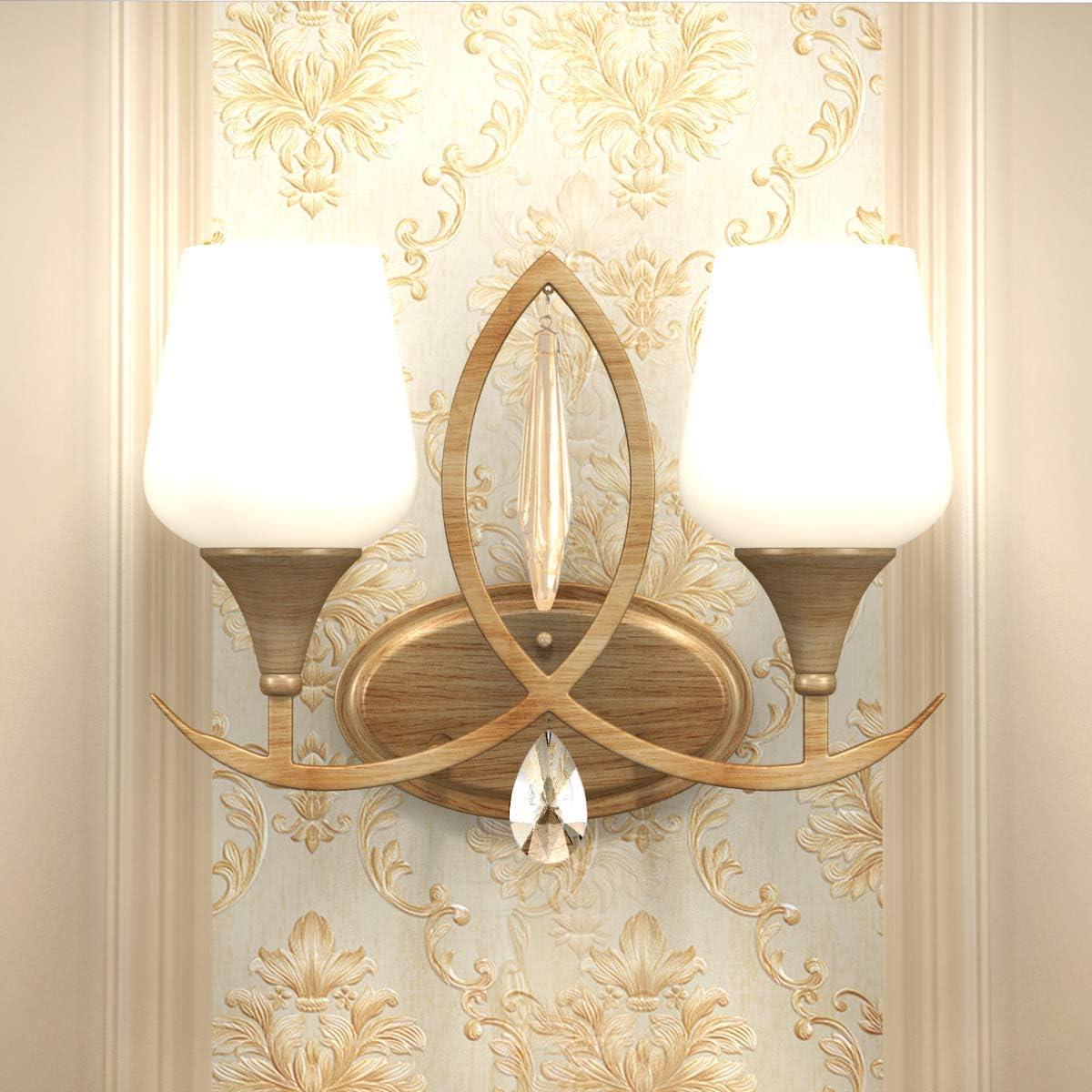 Tangkula 2-Light Wall Sconce Home Bathroom Bedroom Vanity Lamp Wall Mounted Lighting Fixtures Glass Shade Wall Lamp UL E26
