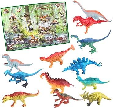 deAO Dinosaurios de Juguete Figuras de la Prehistoria Set de 12 Dinosaurios Conjunto Incluye Poster de la Era Jurásica: Amazon.es: Juguetes y juegos