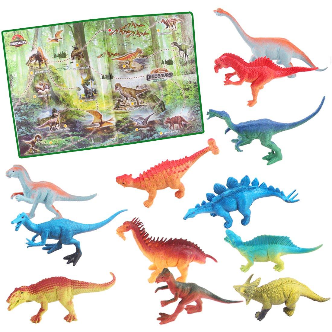 deAO Jurassic Park, Dinosaurier-Spielset- Prehistorische Figuren, Lieferumfang enthält 12 realistische Dinosaurier und Poster DINO-10