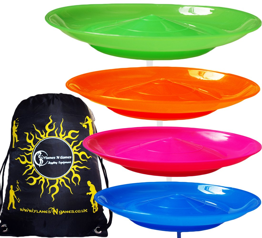 4x Spinning Plate Set (Pink/Orange/Green/Blue) CLASSIC Circus Spinning Plates + 2-Piece Plastic Sticks + Flames N Games Travel Bag! Great fun for Kids & Adults.