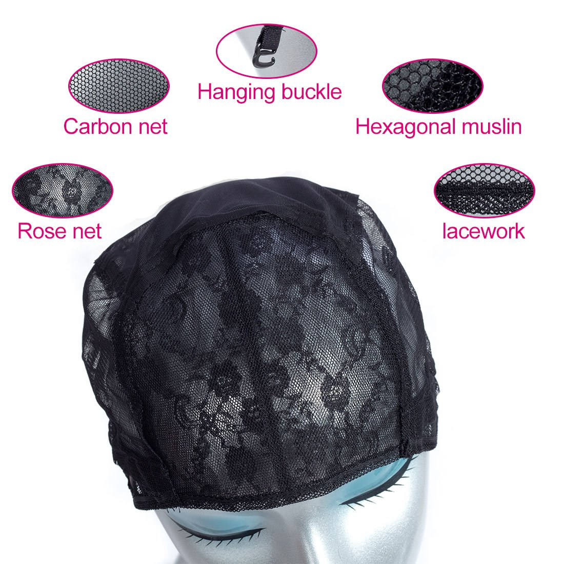 MQYQ 5pcs Black Double Lace Wig Caps For Making Wigs Hair Net with Adjustable Straps Swiss Lace