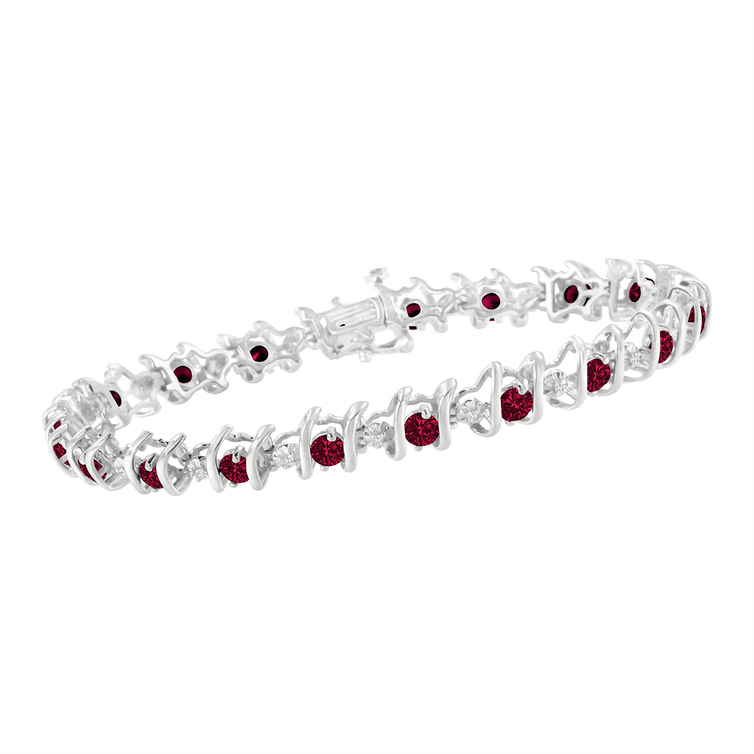 Original Classics Sterling Silver Lab Created Ruby and Diamond S-Link Tennis Bracelet (H-I, I1-I2) by Original Classics (Image #3)