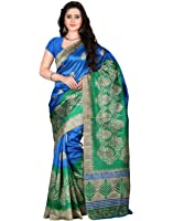 E-VASTRAM Women's Art Mysore Printed Silk Saree (NS4C_Royal Blue)