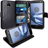 Moto Z Force Case, LK Luxury PU Leather Wallet Flip Protective Case Cover with Card Slots & Stand For Motorola Moto Z Force Droid (Black)