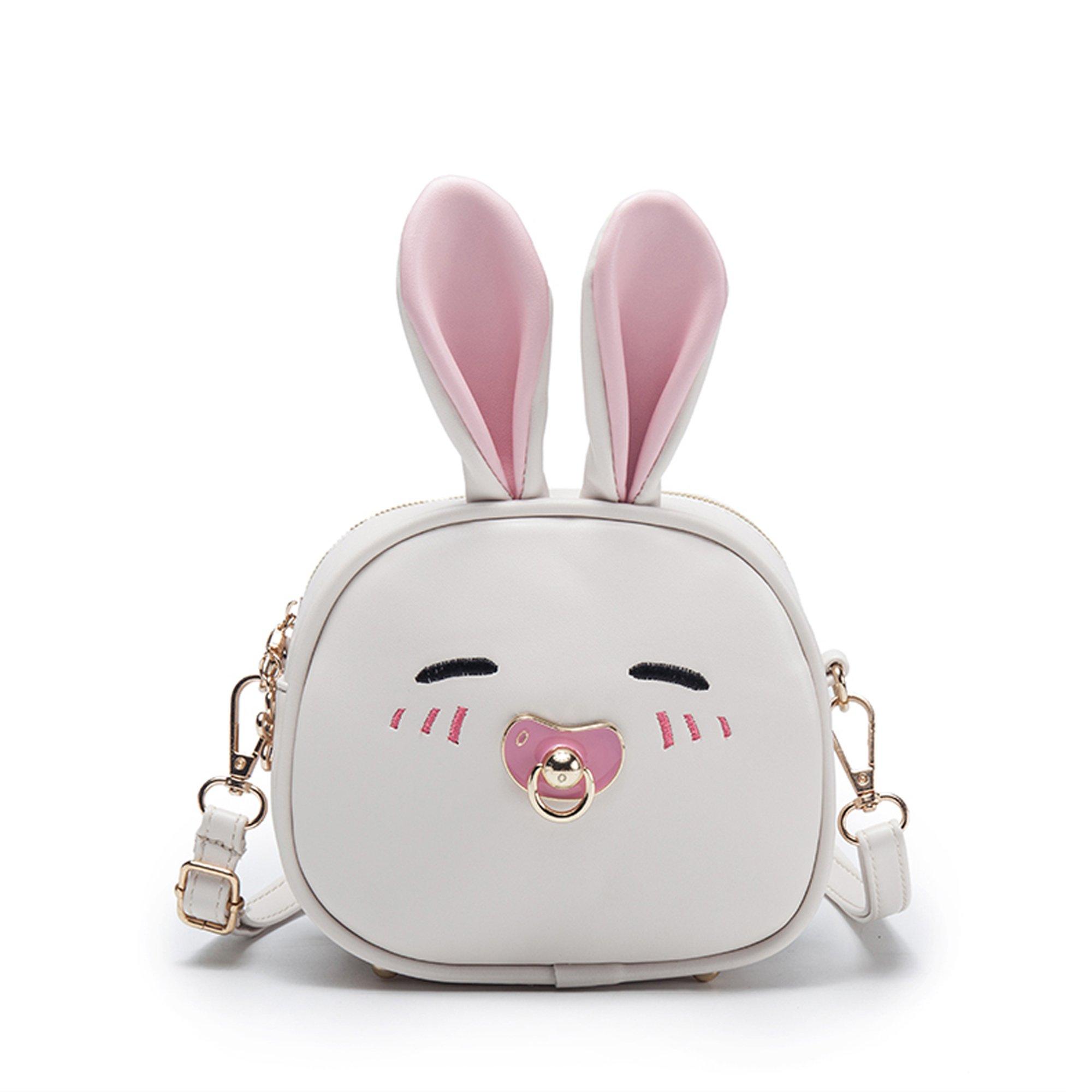 JIANBAO Child Girls Cute Mini Travel Backpacks Purses Convertible Cross Shoulder Bags Stylish Satchel Outdoor Gifts (bunny white)